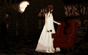 Picture trees, night, the moon, rose, chair, abandoned building, vampire knight, yuuki cross