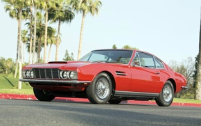 Picture machine, red, palm trees, red, aston martin, vantage, dbs
