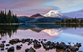 Picture forest, lake, mountain, the evening, Oregon, USA, state, Rainier, The cascade mountains, stratovolcano