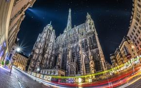 Picture night, lights, Austria, Vienna, St. Stephen's Cathedral