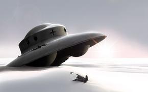 Picture the sun, snow, UFO, 150
