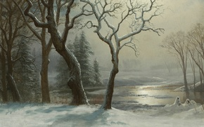 Picture snow, trees, landscape, river, picture, Albert Bierstadt, Winter in Yosemite