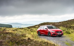 Picture Mercedes-Benz, Red, Car, AMG, Shooting Brake, CLA, 4MATIC, 2016