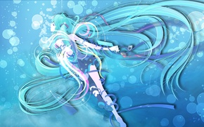 Picture sea, water, girl, bubbles, blue hair, Miku, Wallpaper anime, the wings on the Desk, Miku …