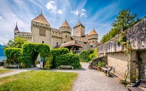 Picture stones, Switzerland, wall, island, Lake Geneva, arch, castle, benches, lake, greens, benches, Chillon Castle, lawn
