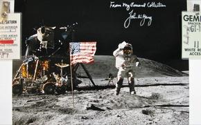 Picture NASA, Space, history, white room, autograph, Apollo-16
