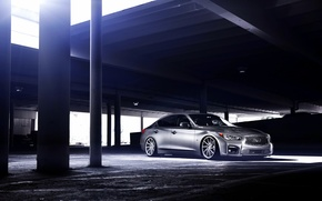 Picture Infiniti, silver, vossen wheels, frontside, Q50S
