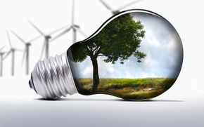 Picture light bulb, nature, windmills, ecology