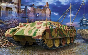 Picture war, art, painting, tank, ww2, SdKfz 179 Bergepanther