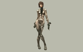 Picture girl, minimalism, grey background, cyberpunk, cyber suit, short hairstyle, cyber