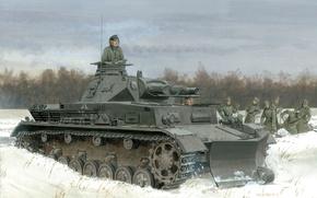 Wallpaper forest, field, tank, Pz.Kpfw. IV Ausf. B, figure, form, the Germans, shovel, trees, Fritz, winter, ...