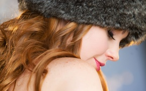 Picture girl, face, hat, fur