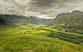 Picture forest, the sky, mountains, clouds, home, valley, grey, meadows