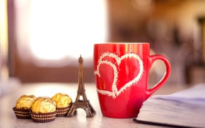 Picture background, widescreen, Wallpaper, mood, Eiffel tower, chocolate, mug, chocolate, book, wallpaper, candy, notebook, red, widescreen, ...