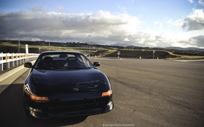 Picture road, the sky, black, highway, toyota, mr2, toyota mr2