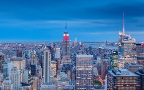 Picture USA, skyline, blue, New York, Manhattan, NYC, New York City, evening, Empire State Building, skyscrapers, …
