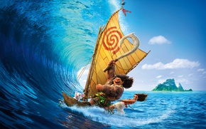 Wallpaper aboriginal, sail, Moana, tattoo, Maui, Maui, adventure, necklace, tropics, Walt Disney Pictures, cartoon, Moana, boat, ...