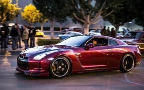 Picture the city, Nissan, GT-R, purple color, street racing, purple color