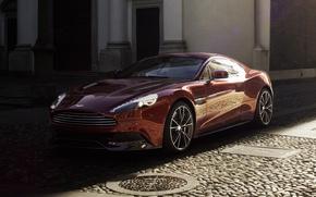 Picture background, Aston Martin, shadow, supercar, Aston Martin, Burgundy, Vanquish, Vanquish