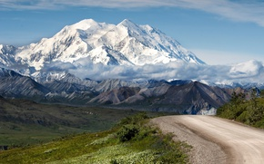 Picture road, the sky, clouds, mountains, nature, glacier, Sunny