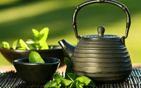 Picture kettle, mint, East tea, cup
