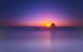 Picture sea, the sky, the sun, landscape, rock, dawn, horizon