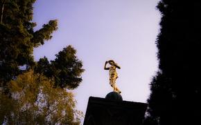 Picture Sky, Autumn, Golden, Stuttgart, Trees, Statue, Pillar