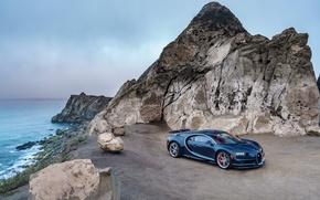 Picture sea, rock, hypercar, Chiron, Bugatti, the sky, Bugatti