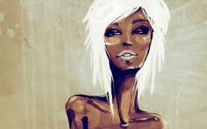 Picture girl, figure, blonde, mulatto