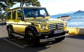 Wallpaper car, Wallpaper, mercedes, gold, gold, car, 2012, Mercedes, benz, wallpapers, g500, automobiles, Festival de Canne, ...