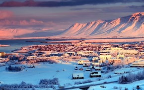 Picture winter, the sky, clouds, snow, trees, mountains, the city, river, houses, Iceland, capital, Reykjavik