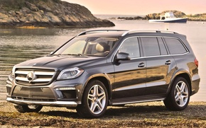 Picture water, background, shore, Mercedes-Benz, Mercedes, jeep, boat, the front, 550