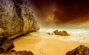 Picture sand, sea, the sky, clouds, stones, overcast, rocks, coast, horizon, Mexico, Tulum