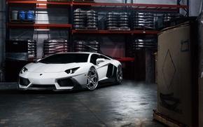 Picture Lamborghini, Front, White, Matte, Tuning, LP700-4, Aventador, Supercar, Wheels, Garage, ADV.1
