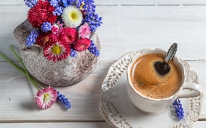 Picture flowers, coffee, Cup