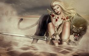 Picture girl, sword, Panther, warrior, Sands, roar