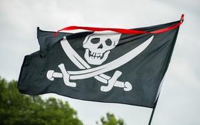 Picture skull, flag, Jolly Roger