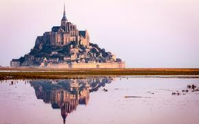 Picture the sky, reflection, castle, France, Normandy, Mont-Saint-Michel