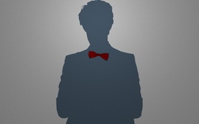 Picture red, grey, people, shadow, minimalism, boy, silhouette, tie, male, guy, bow, Babochka