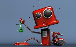 Wallpaper green, red, robot, the situation