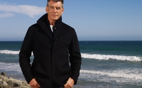 Wallpaper sea, wave, stones, view, actor, pierce brosnan, pierce Brosnan