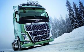 Picture winter, road, field, snow, track, truck, Volvo, 750, tractor, the truck, Trak, volvo fh 16