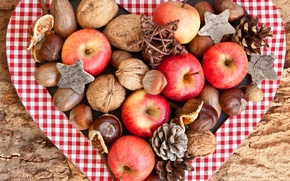 Picture autumn, apples, red, fruit, nuts, bumps, acorns, chestnuts