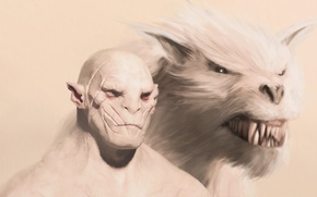 Picture art, Hobbit, Lord of the Rings, Warg, Azog