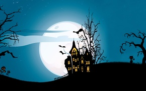 Picture scary house, evil pumpkin, evil pumpkin, scary house, cat, creepy, creepy, full moon, midnight, full ...