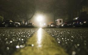 Wallpaper asphalt after the rain, home, night, macro, machine