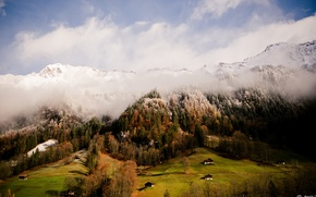 Picture grass, forest, sky, Switzerland, trees, nature, Europe, clouds, mountain, snow, houses, homes, fresh air