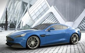 Picture blue, Aston Martin, Aston Martin, blue, Vanquish, vankvish, profile, by Dangeruss