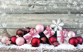 Picture snow, decoration, snowflakes, balls, New Year, Christmas, gifts, Christmas, Xmas, decoration, gifts, Merry