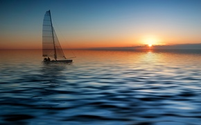 Picture SEA, HORIZON, The OCEAN, The SKY, SAIL, SUNSET, YACHT, DAL, DAWN, BOAT, MAST